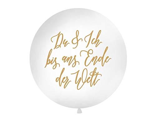 Unbekannt PartyDeco Hochzeit XXL Riesen Luftballon Ø 1m Du und Ich bis ans Ende der Welt Weiß/Gold (Aus Luftballons Bis)