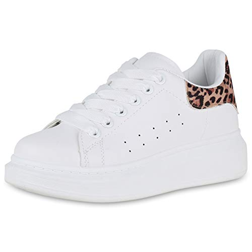 SCARPE VITA Damen Plateau Sneaker Keilabsatz Turnschuhe Wedges Keilsneaker 174844 Weiss Leopard 39 Weiße Wedge Sneakers