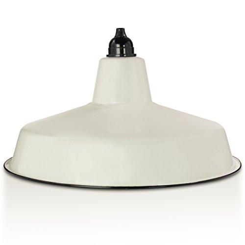 Industrie-Lampenschirm aus Emaille, Creme-Weiß | Fabriklampe 36 cm - inkl. Fassung aus Bakelit | 2. Wahl (Emaille Leuchten)