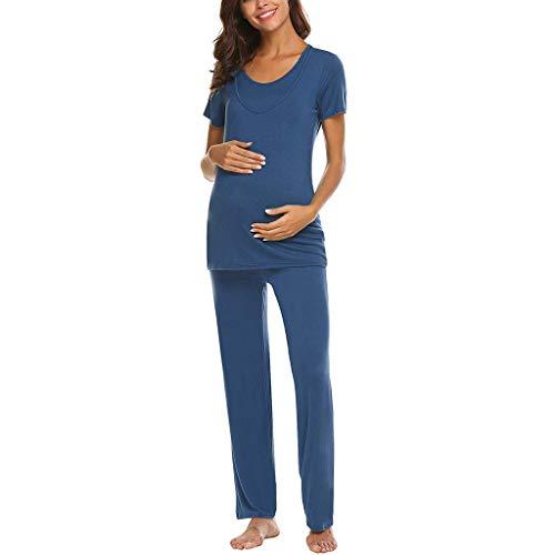 FWJ-clothes Frauen Mutterschaft Stillen Krankenpflege Pyjama Langarm Nachtwäsche Crewneck Schwangerschaft Stillen Krankenhaus Set,Blau,M (Nachtwäsche Krankenpflege Mutterschaft)