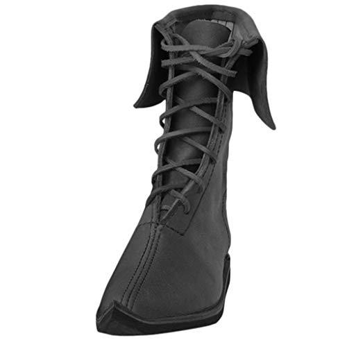 BASACA Herren Vintage Schnürstiefel Flachem Schuhe Schlupfstiefel Warmer Stiefeletten Stiefel (41 EU, Schwarz)