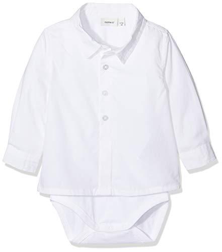 NAME IT Baby-Jungen NBMSANDER LS Shirt Body Spieler, Weiß Bright White, (Herstellergröße: 74)