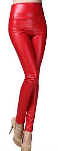 Lotus Instyle dick Hohe Taille Kunstleder Leggings Frauen Lederhose-Red S