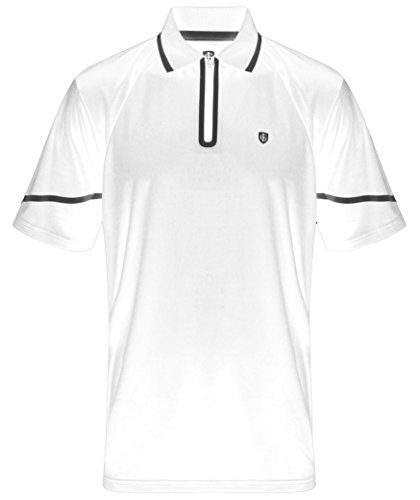 Mens Performance Golf Shirt (Island Green 2017 CoolPass Rubber Heat Seal Zip Placket Mens Performance Golf Polo Shirt White/Black Medium)