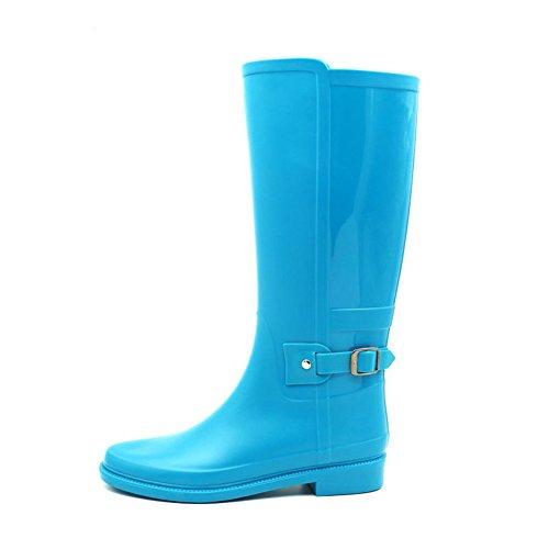 Baiyouli Bota de lluvia de media caña alta Hunter Hunter impermeable Rainboots con diseño de hebilla para mujer