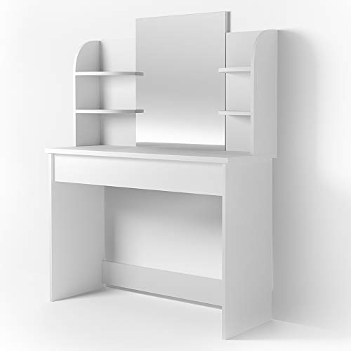 Vicco Schminktisch Charlotte 142 x 108 cm Weiß oder Schwarz - Frisiertisch Kommode Spiegel +++ Schminkkommode mit Schubfach- und Regalsystem +++ (weiß)
