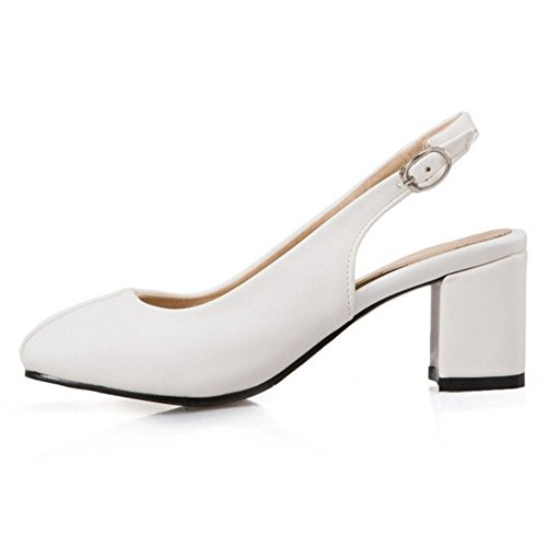 TAOFFEN Femme Elegant Talon Moyen Slingback Escarpins Bout Ferme Chaussures Bureau Blanc