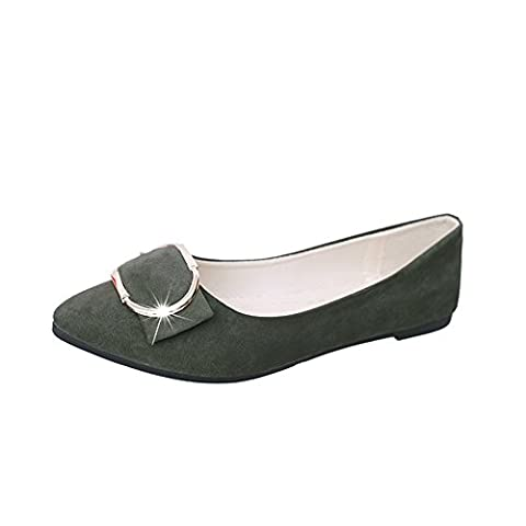 St.Roma Women's England Style Pointed Toe Flats 4 green