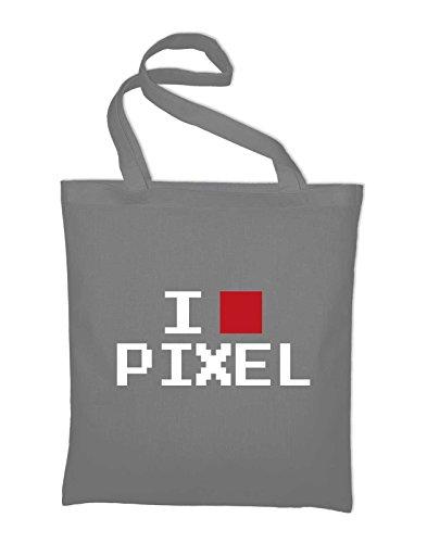Amo Pixel Disadattato Divertimento Iuta, Sacchi, Sacchetti Di Stoffa, Borse In Cotone, Giallo Chiaro Grigio