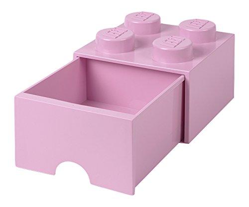 LEGO Brick 4Schublade Knöpfe, 1Schublade, stapelbar Aufbewahrungsbox, 4,7l, Light Pink, 222–Licht Violett (Licht Aufbewahrungsbox)