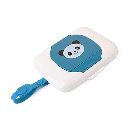 Queta - Caja de pañuelos de plástico para Viaje, portátil, para Guardar toallitas húmedas, dispensador de toallitas Azul Azul