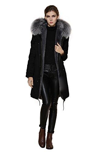 Damen PARKA XXL Kragen aus 100% ECHTPELZ ECHT FELL Jacke Mantel Schwarz 6 Farben Grau