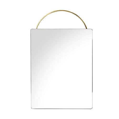 GUOWE-yushijing GUOWEI Spiegel Wandmontage Bad Salon Bilden Hochauflösend Gerahmt Runden Kupfer Einfach (Farbe : Gold, größe : 37x56cm)