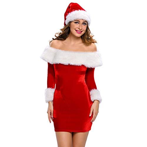 (Huntfgold Damen Weihnachtsfrau Kostüm Miss Santa Lange Weihnachtskleider Kleid und Hut)