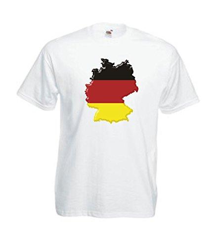 MFAZ Morefaz Ltd T-Shirt Deutsch Flagge Land Karte von Deutschland Herren Und Damen Men/Ladies (White Germany Flag, M) -