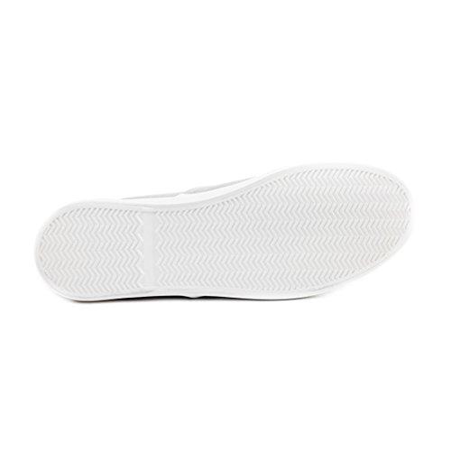Trendige Low Top Damen Schnür Sneaker Schuhe in Textil Modell 2: Weiß