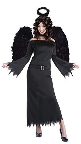 Karneval-Klamotten schwarzer Engel Kostüm Damen dunkle Fee Todes Engel Halloween-Kostüm Damen-Kostüm Größe (Der Engel Des Todes Kostüm)