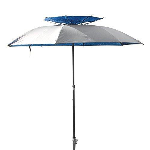 XXL Sonnenschirm Strandschirm 190 cm Durchmesser Sonnenschirmhalter Kohlefaser Pongee Aluminium eingebauter Windfang Schraubdorn für Strand Erde Rasen UV Schutz 30 Blau