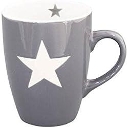 Krasilnikoff - Tasse, Becher, Henkelbecher, Mug - mit Stern - Grau - Handmade - Keramik