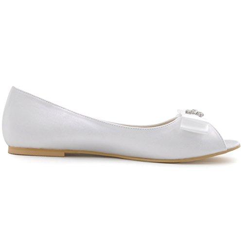 Elegantpark EP11102 Bout Ouvert Noeud Rhinestones Satin Femmes Confortable Plat Chaussures de Mariee Mariage Blanc