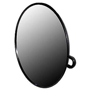 Runder Schwarzer Friseur Handspiegel – Leichter Spiegel, Friseurspiegel – Professioneller Friseursalon Spiegel – Einfach zu Tragender und Haltender Salonspiegel für Frisuren, Haarschnitt und Beauty – Frisierspiegel mit Kunststoffrahmen