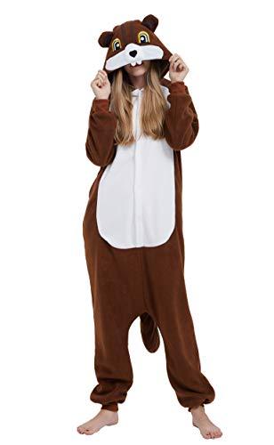 Kigurumi Pijama Animal Entero Unisex para Adultos con Capucha Cosplay Pyjamas Ardillas Ropa de Dormir Traje de Disfraz para Festival de Carnaval Halloween Navidad