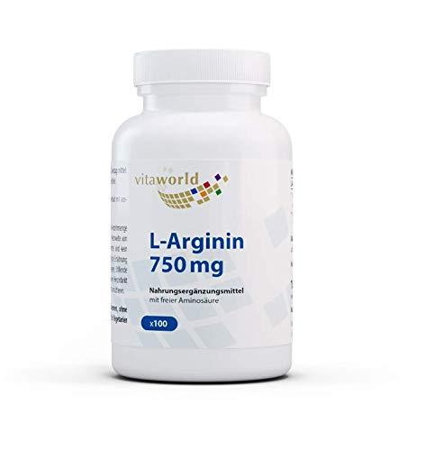 Vita World L-Arginin 750mg 100 vegetarische Kapseln Deutsche Apotheker-Herstellung 2250mg Tagesdosis 100% nat