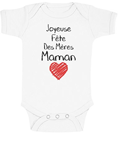 Green Turtle T-Shirts Joyeuse 1ere Fête des Mères Maman!! Body Bébé Manche Courte 12-18 Mois Blanc