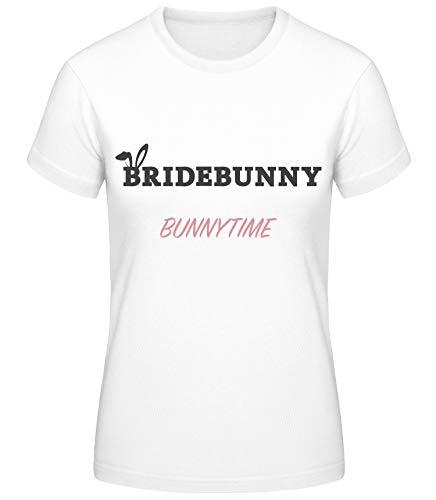 Shirtinator Damen Bridebunny Bunnytime T-Shirt | Junggesellinnenabschied Geschenkidee für Frauen | Witziges T-Shirt (weiß/L) (Playboy Bunny Kostüm Weiß)
