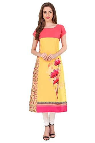 Sunshine Fashion Long A-Line Crepe Printed Yellow Color Kurti for Women Or Girl's (SUNK885-XXL Long Printed Kurti)