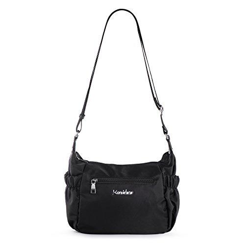 Damen Shopper Umhängetaschen, Kleine Handtasche Freizeit Schultertasche Frauen Mädchen Teenager Uni Tasche Reisetasche mit Vielen Praktischen Taschen Nylon Katloo (Schwarz)
