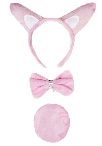 Pink Piglet Headband Bowtie Tail 3pc Costume for Children Halloween School Party ()