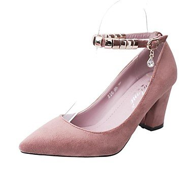 pwne Donna Tacchi Primavera Estate Autunno Club Di Calzature In Pelle Scamosciata Ufficio Outdoor &Amp; Carriera Casual Walking Chunky Heel Ribbon Tiecamel Arrossendo Verde Rosa US8.5 / EU39 / UK6.5 / CN40