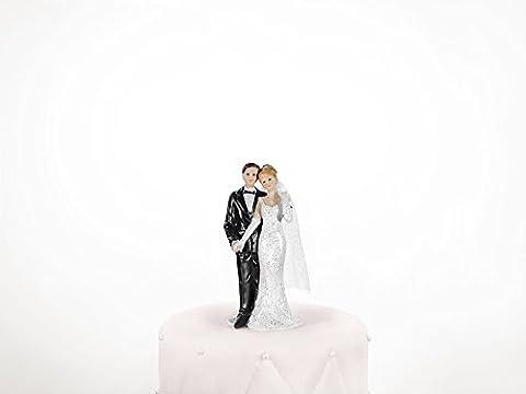 PartyDeco PF14-KARTON–Figurine–Bride & Groom Wedding Cake Decoration