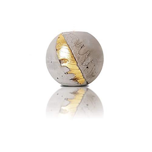 Handgemach Teelichthalter Aus Beton Mit Goldenes Blatt 10cm   Teelicht Windlicht Set Deko Für Gastgeschenke, Hochzeitsdeko   Weihnachten Deko