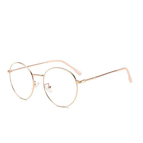 Fusanadarn Mode runde Metall Brillengestell Unisex Brillen für Frauen Männer (Color : Rose-Gold)