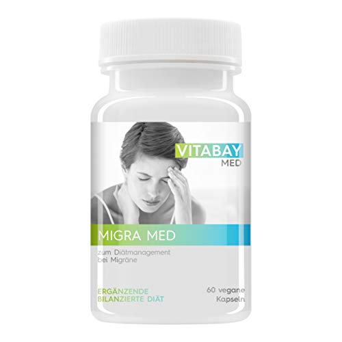 Migra MED - 750 mg Pestwurz Extrakt mit 200 mg Mutterkraut - Zum Diätmanagement bei Migräne (60 vegane Kapseln)