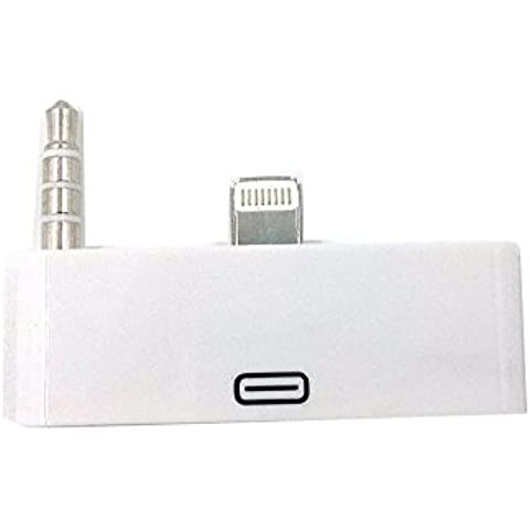 Kble iPhone blanco 5 8Pin a 30 Pin Lightning Audio Conector / adaptador / convertidor de bases de audio, cargar y sincronizar - por Mobi LockTM