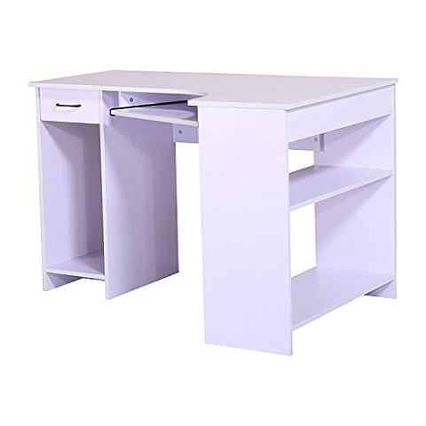 Homcom Computer PC Corner Desk Home Office Table Furniture Workstation With Storage Drawer Shelf