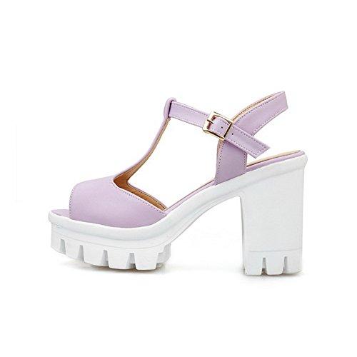 AllhqFashion Damen Fischkopf Schuhe Hoher Absatz Weiches Material Rein Schnalle Sandalen Mit Hohem Absatz Lila