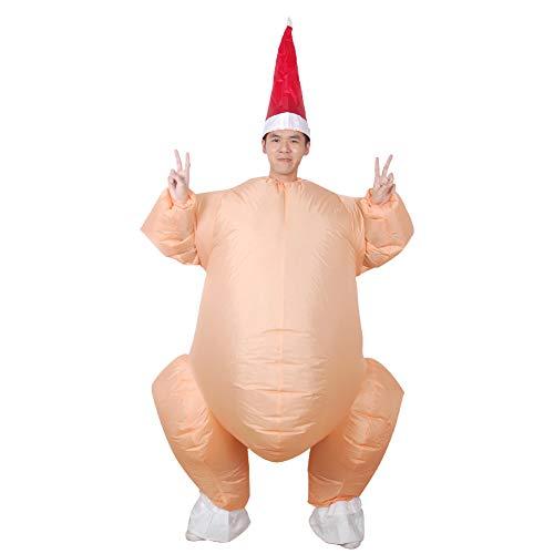 Unbekannt Aufblasbare Truthahnbraten Kostüm Halloween Huhn für Erwachsene Aufblasbare Weihnachten Kostüm Maskottchen Cosplay Kostüm Kleidung (Orange, 160-190 - Weihnachts Maskottchen Kostüm