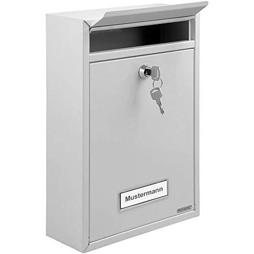 Briefkasten Weiß inkl. 2 Schlüssel Namensschild abschließbar witterungsfest Mailbox Briefkastenanlage Postkasten Stahl