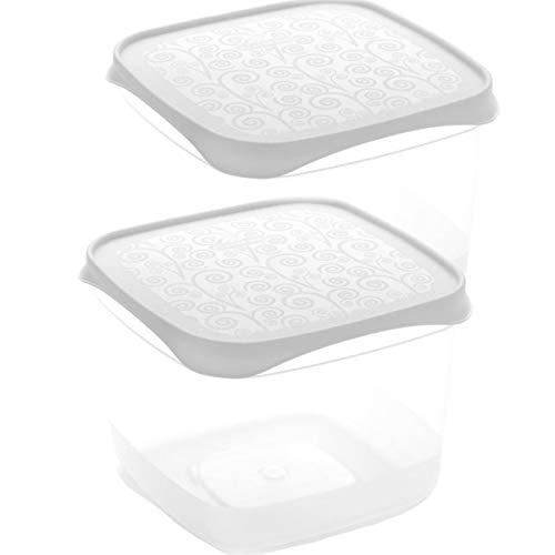 Set de 2 Coupelles hermeticos carrés avec couvercle Blanc de 0,6 l - BPA Free.