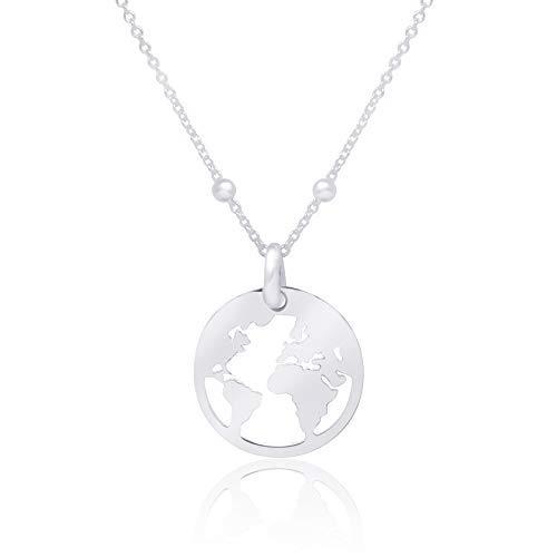 WANDA PLATA Collar Mundo para Mujer Chica Joven de Plata de Ley 925, Joyería Bola del Mundo, Colgante Mapamundi, Gargantilla Globo Terráqueo, World Tierra Continentes