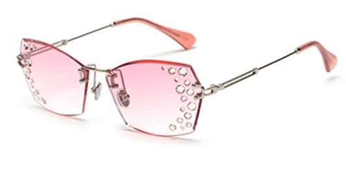 MINGMOU Designer Randlose Sonnenbrille Frauen StrassFrauen Klare LinseSonnenbrilleWeibliches Geschenk Uv400 Braun, 6