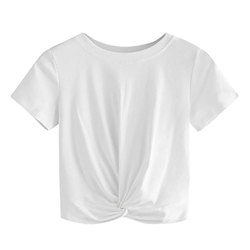 Lonshell Damen Mode Kurz Sweatshirt Designer Twist Sweater Sommer T-Shirt Locker Kurzarm Crop Tops Rundhals Bluse Pullover Tuniken Oberteile -