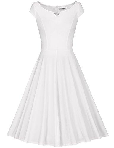 MUXXN Damen Retro 50s 60s Hahnentritt Party Swing Kleid(XL, White)