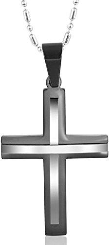 Gnzoe Schmuck, Edelstahl Schwarz Silber Zwei Farbe Kreuz 2.4cm Anhänger Halskette für Herren