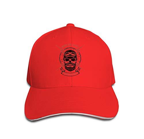 Trucker Hat Unisex Adult Baseball Mesh Cap Born Speed Ride die Human Skull ed Lightning Design Element Log red -