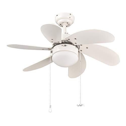 Sunix Ventilateur de Plafond E27, 76 cm avec 6 Lames MDF Ventilateur de Classique de Plafond Réversible pour Une Utilisation...